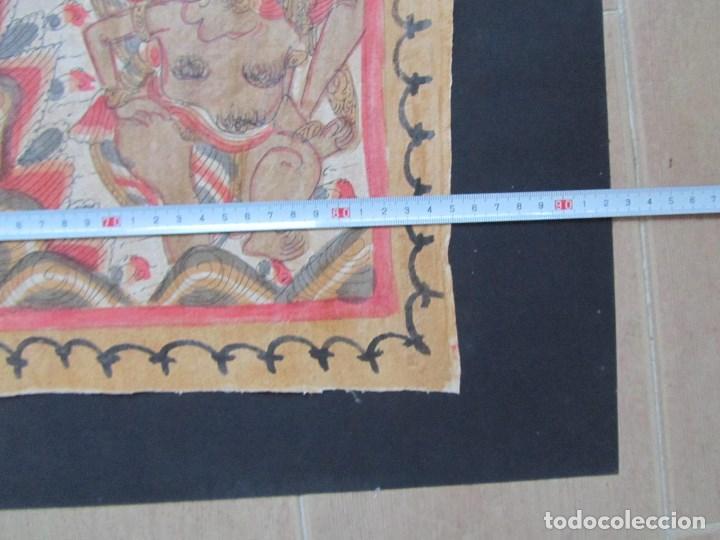 Arte: Tela pintada de Bali. Motivos étnicos rituales. 85 x 58 centímetros - Foto 5 - 102712607