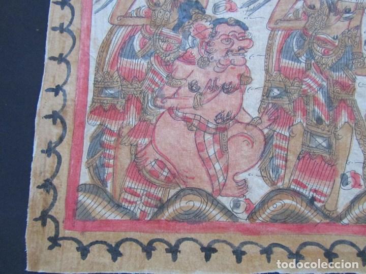 Arte: Tela pintada de Bali. Motivos étnicos rituales. 85 x 58 centímetros - Foto 6 - 102712607