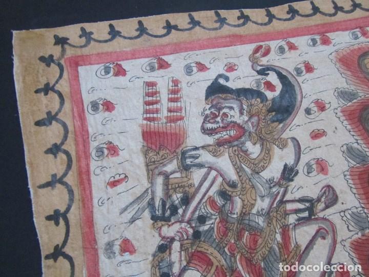 Arte: Tela pintada de Bali. Motivos étnicos rituales. 85 x 58 centímetros - Foto 7 - 102712607