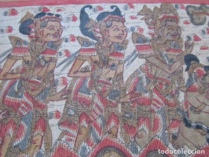 Arte: Tela pintada de Bali. Motivos étnicos rituales. 85 x 58 centímetros - Foto 8 - 102712607