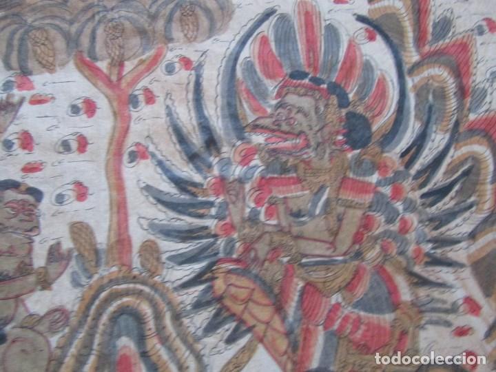 Arte: Tela pintada de Bali. Motivos étnicos rituales. 85 x 58 centímetros - Foto 9 - 102712607