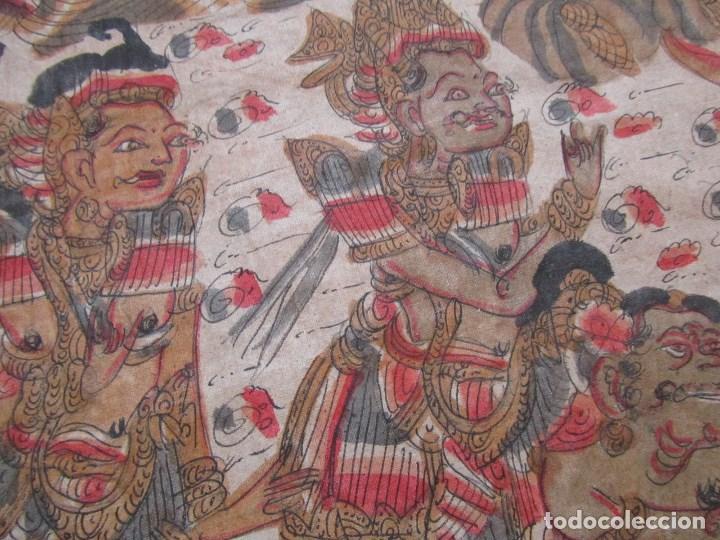 Arte: Tela pintada de Bali. Motivos étnicos rituales. 85 x 58 centímetros - Foto 11 - 102712607