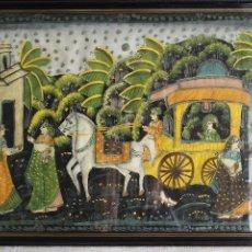Arte: ESCUELA HINDÚ, PINTURA SOBRE SEDA ENMARCADO 52 CM X 38,5 CM, PINTURA INDIA. Lote 61656636