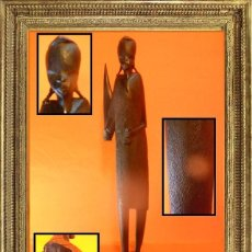 Arte: ANTIGUA FIGURA TALLA EN MADERA DE ÉBANO TRIBU AFRICANA FINALES S. XIX PRIC. S XX.. Lote 104525063