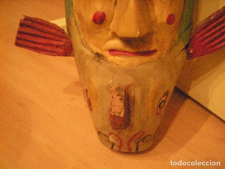 Arte: ANTIGUA MÁSCARA MEXICANA (mejicana) TALLADA Y PINTADA A MANO. COMPRADA EN MÉXICO HACE CASI 50 AÑOS - Foto 4 - 104550887