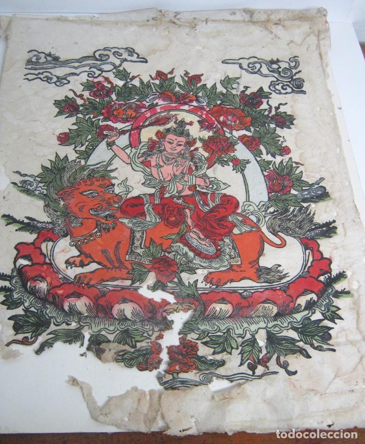 GRANDE - BUDISMO TIBET - MANJUSHRI LA ESPADA FLAMEANTE - ANTIGUA PINTURA S/ PAPEL A RESTAURAR (Arte - Étnico - Asia)