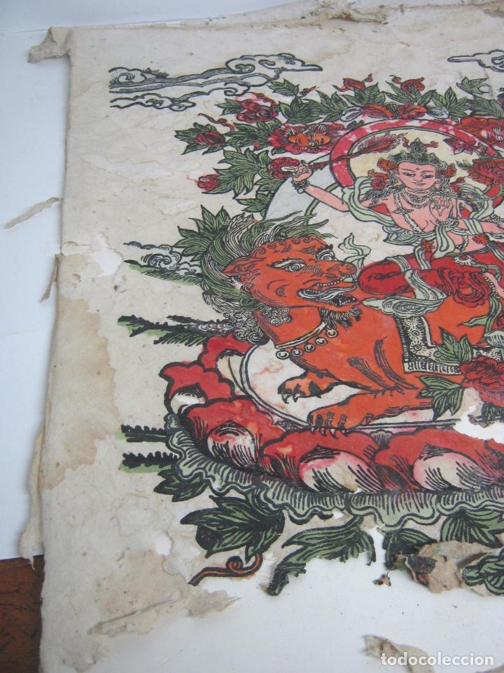 Arte: grande - Budismo Tibet - Manjushri la espada flameante - antigua pintura s/ papel a restaurar - Foto 2 - 105615303