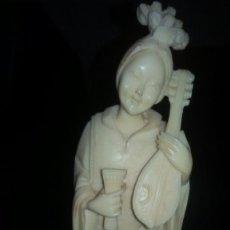 Arte: PRECIOSA GEISHA TALLADA EN LACA CHINA COLOR MARFIL,BASE DE MARMOL NEGRO. AÑOS 50/60.. Lote 105825503