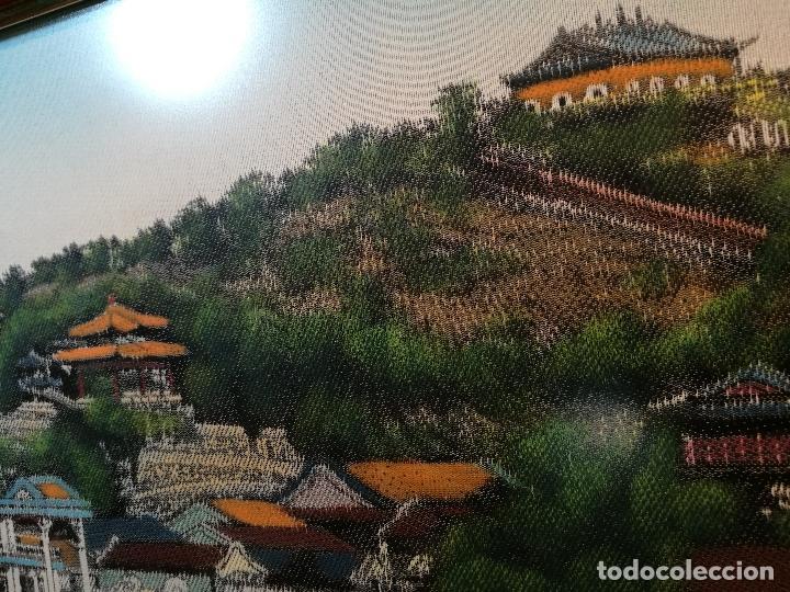 Arte: TAPIZ SEDA NATURAL ALTA CALIDAD JAPON AÑOS 60...ENMARCADO --82 X 37 CM BUEN ESTADO(REF-1AC-27) - Foto 11 - 107201447