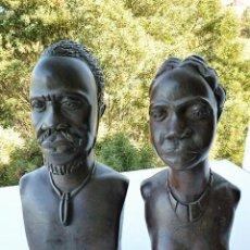 Arte: PAREJA AFRICANA EN MADERA DE EBANO DE GRAN PESO. Lote 108527539