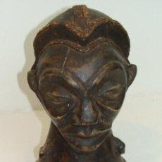 Arte: CABEZA AFRICANA DE MADERA TALLADA. Lote 109462887