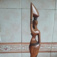 Arte: PRECIOSA ESCULTURA DE UNA MUJER NATIVA AFRICANA ,TALLADA EN MADERA.. Lote 109731787
