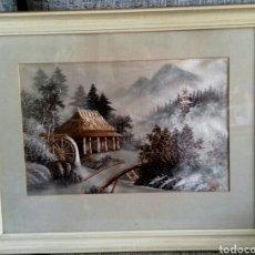 Arte: BEAUTIFUL JAPANESE SILK EMBROIDERY MOUNT FUJI LANDSCAPE PAINTING - SIGNED. Lote 110064076