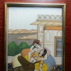 Arte: MINIATURA ERÓTICA SOBRE MARFIL HINDÚ RAJASTHAN INDIA S XX ESCENA CORTE MINUCIOSA PLACA ESCENA INDIA. Lote 110397027