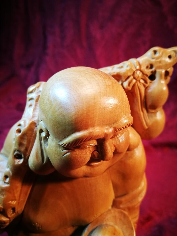 Arte: TALLA ORIENTAL EN MADERA BOJ buxussempervirens- BUDA DE LA SUERTE -GRAN CALIDAD ARTISTICA --VER - Foto 21 - 110401547