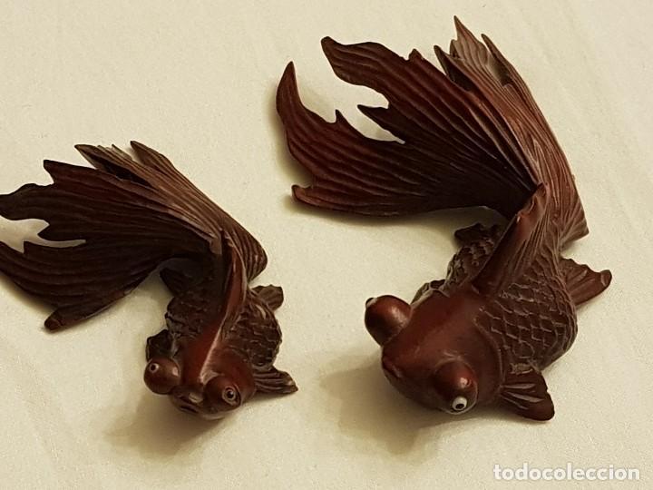 TALLAS ORIENTALES EN MADERA DE 2 PECES (Arte - Étnico - Asia)