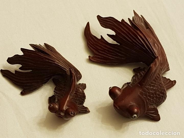 Arte: Tallas orientales en madera de 2 peces - Foto 2 - 110498683