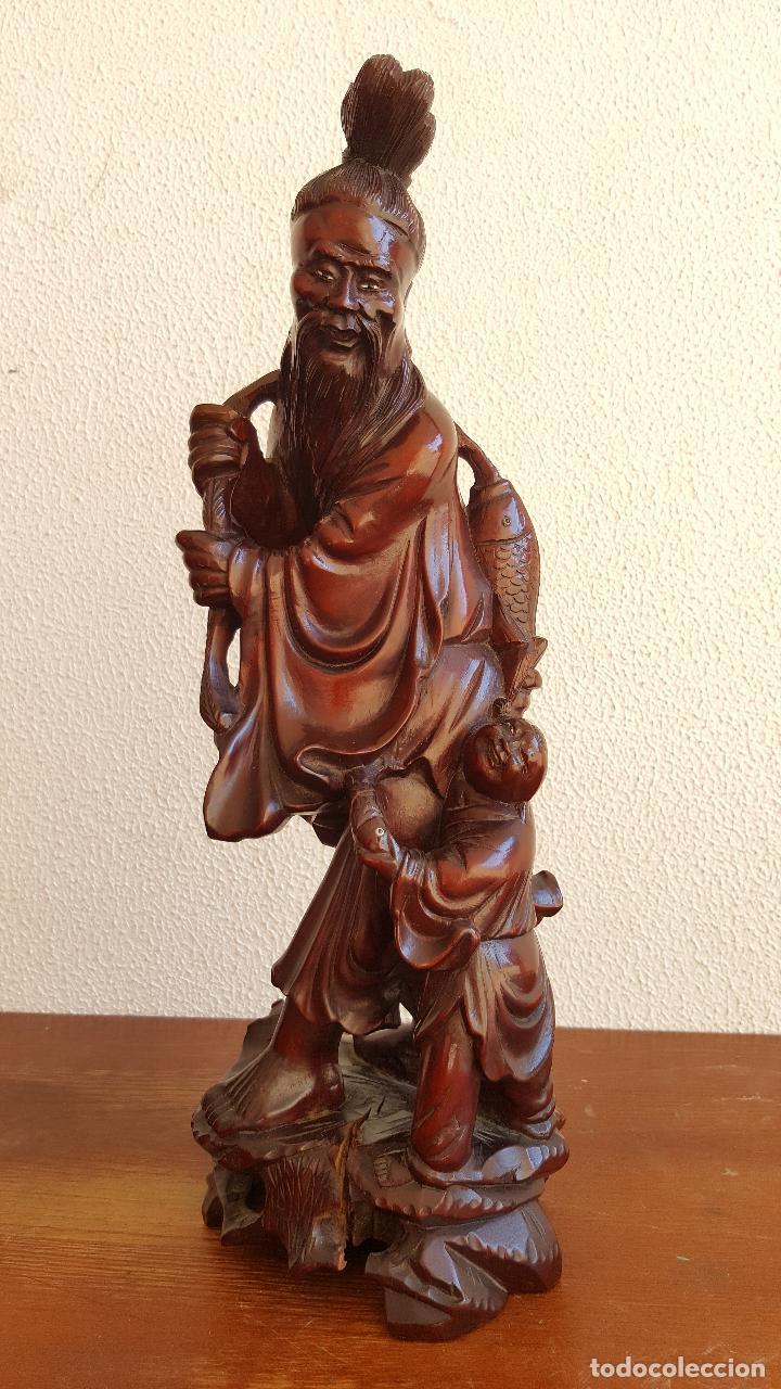 Arte: Preciosa escultura en madera palo de rosa. Arte oriental. - Foto 2 - 110917179