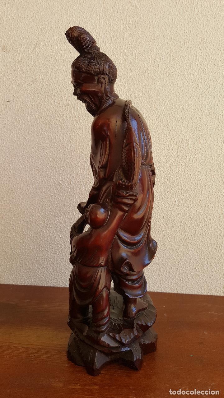 Arte: Preciosa escultura en madera palo de rosa. Arte oriental. - Foto 3 - 110917179