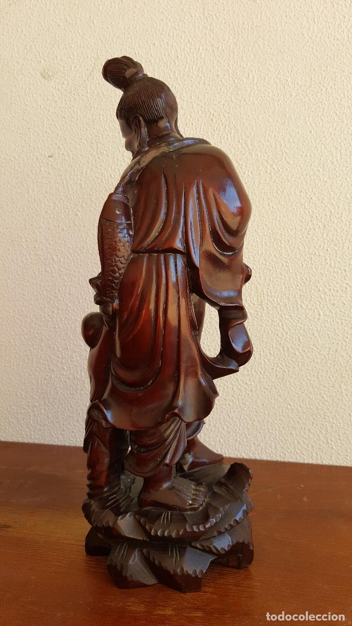 Arte: Preciosa escultura en madera palo de rosa. Arte oriental. - Foto 4 - 110917179