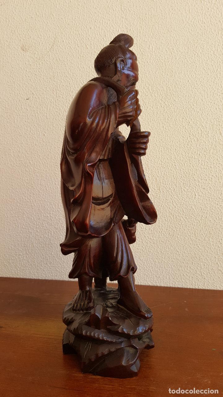 Arte: Preciosa escultura en madera palo de rosa. Arte oriental. - Foto 5 - 110917179
