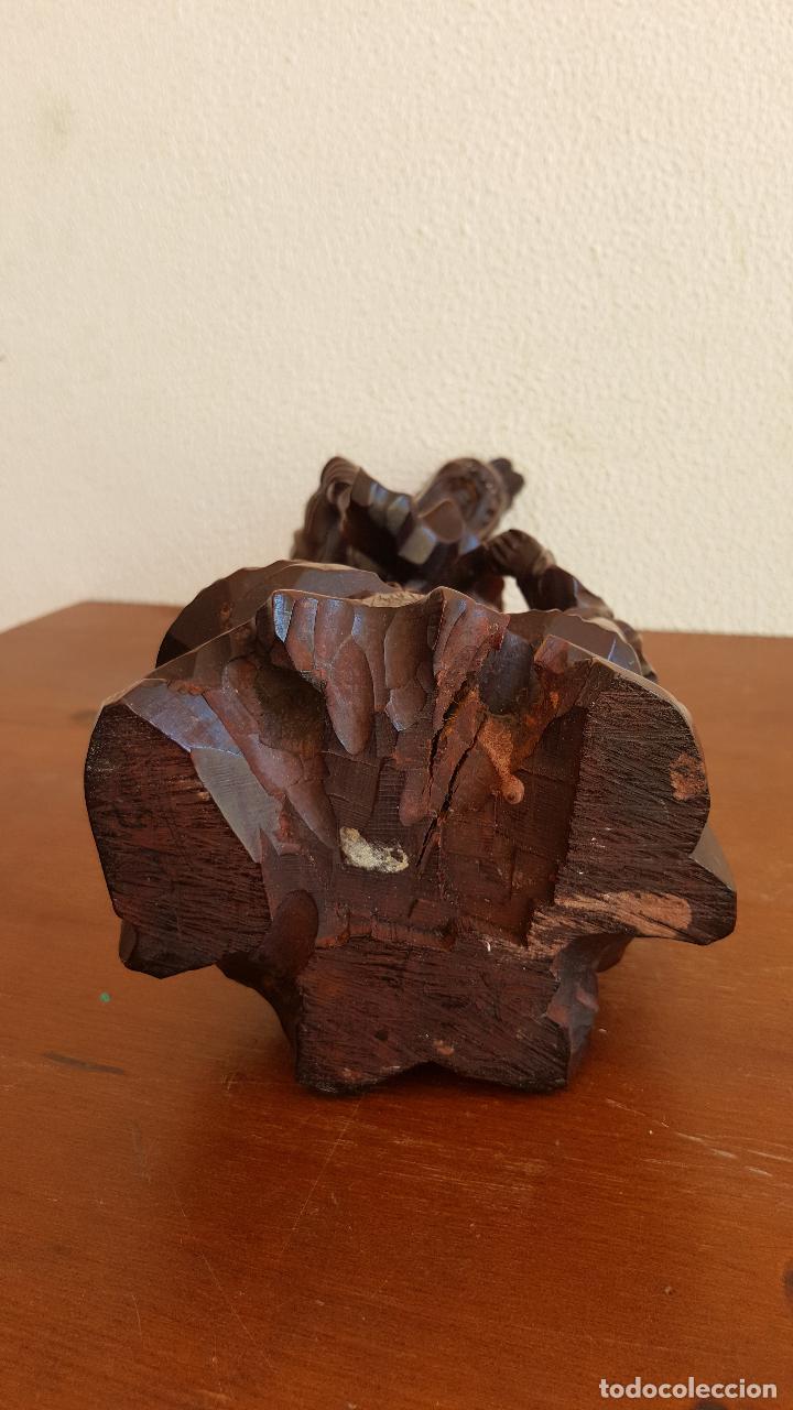 Arte: Preciosa escultura en madera palo de rosa. Arte oriental. - Foto 6 - 110917179