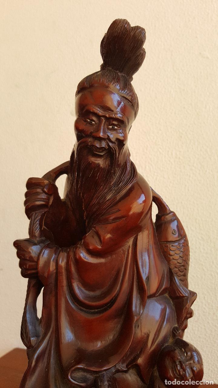 Arte: Preciosa escultura en madera palo de rosa. Arte oriental. - Foto 7 - 110917179