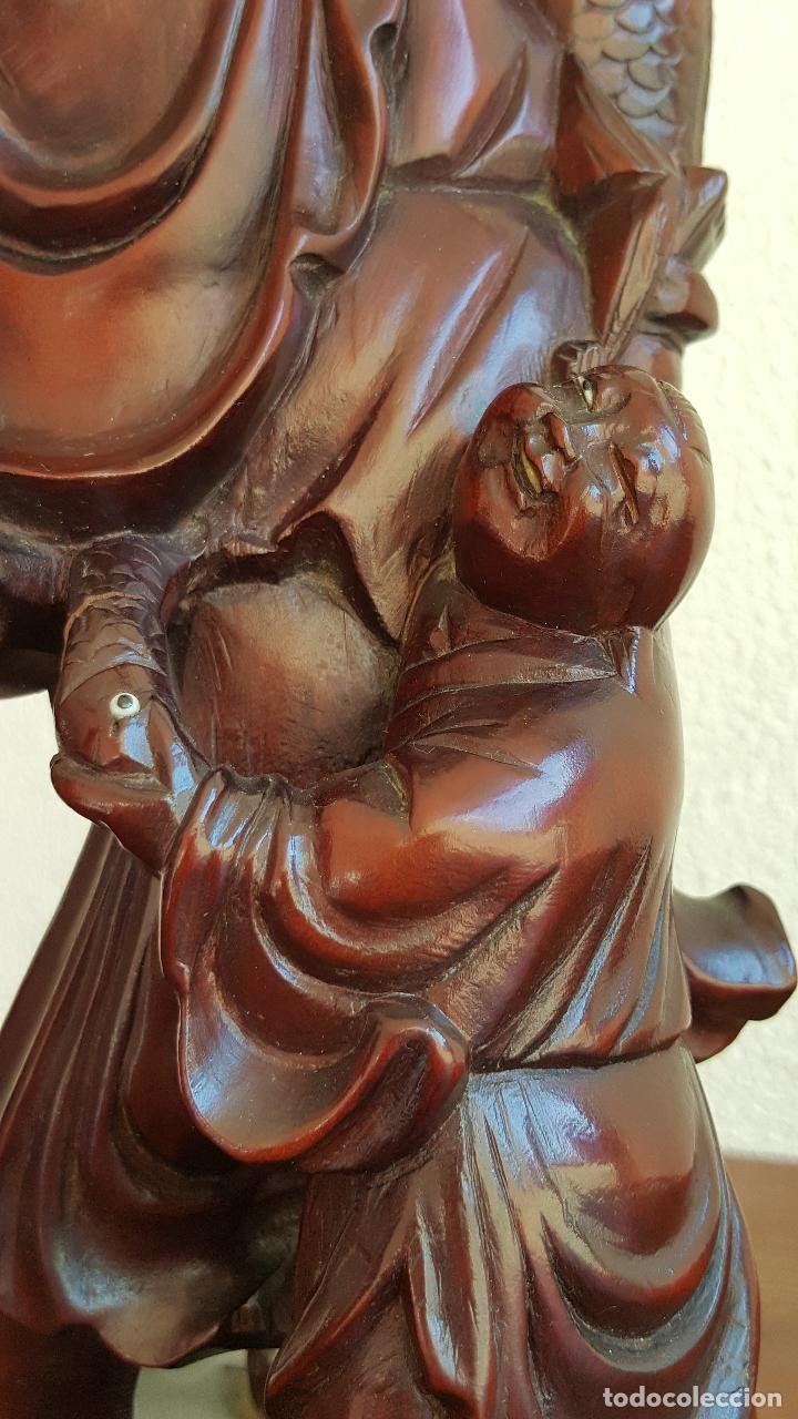 Arte: Preciosa escultura en madera palo de rosa. Arte oriental. - Foto 9 - 110917179