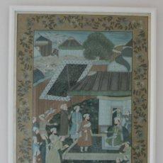 Arte: IMPORTANTE PINTURA PERSA AL GOUACHE SOBRE SEDA: ESCENA CORTESANA EN PALACIO - PERSIA SIGLO XIX. Lote 111424667