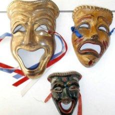 Arte: LOTE 3 MASCARAS COLGADOR DE BRONCE GRIEGAS TEATRO. Lote 111706467