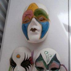 Arte: LOTE 3 MASCARAS COLGADOR DE CERAMICA VENECIANA . Lote 111707935