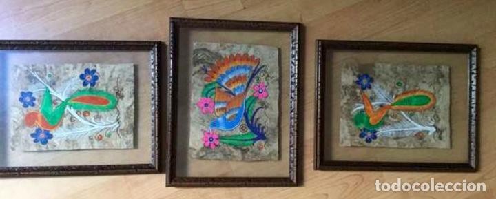 TRES PINTURAS FIGURATIVA AZTECAS ORIGINALES (Arte - Étnico - América)