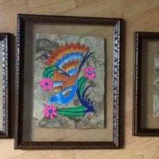 Arte: TRES PINTURAS FIGURATIVA AZTECAS ORIGINALES. Lote 87723848