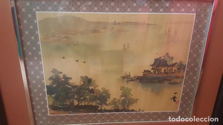 Arte: Paisaje oriental. Pintado sobre tela. Firmado y enmarcado. - Foto 2 - 112321627