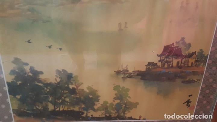 Arte: Paisaje oriental. Pintado sobre tela. Firmado y enmarcado. - Foto 3 - 112321627