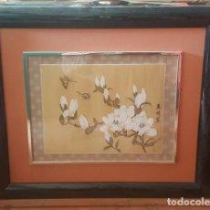 Arte: RAMA DE CEREZO. PINTADO SOBRE TELA. ENMARCADO. . Lote 112321931