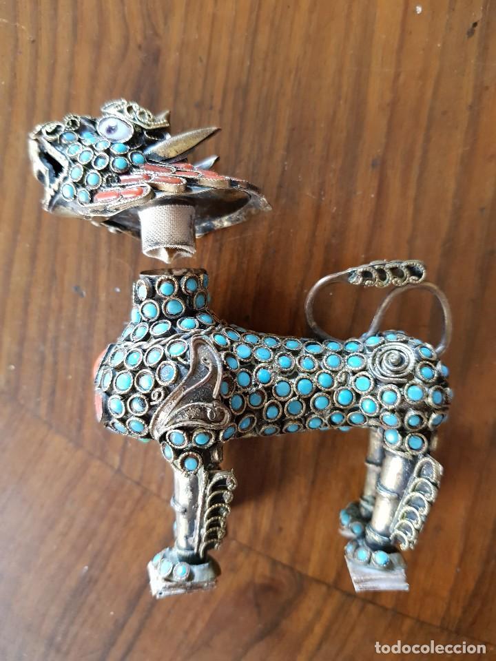 Arte: Esenciero Perro-León-Dragón Foo. Filigrana de latón y turquesa - Foto 2 - 112818331
