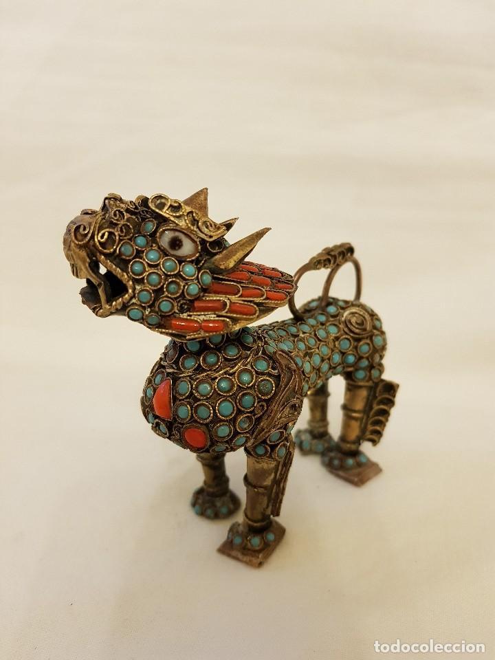 Arte: Esenciero Perro-León-Dragón Foo. Filigrana de latón y turquesa - Foto 4 - 112818331