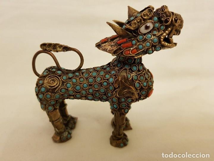 Arte: Esenciero Perro-León-Dragón Foo. Filigrana de latón y turquesa - Foto 5 - 112818331