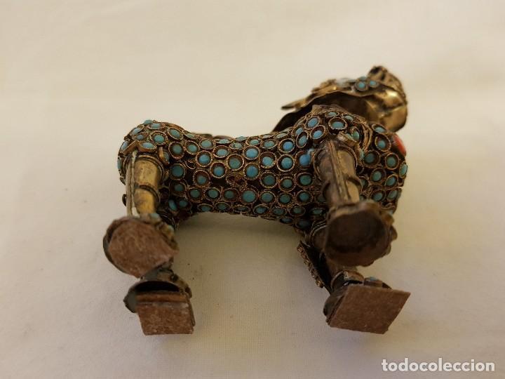 Arte: Esenciero Perro-León-Dragón Foo. Filigrana de latón y turquesa - Foto 7 - 112818331