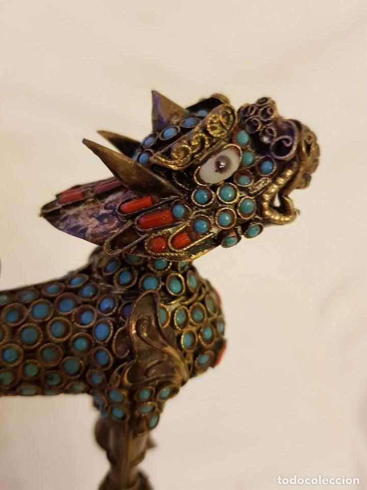 Arte: Esenciero Perro-León-Dragón Foo. Filigrana de latón y turquesa - Foto 8 - 112818331