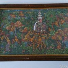 Arte: PINTURA BALI - ESCUELA UBUD - TELA - RITUAL PROCESIÓN. Lote 112853426