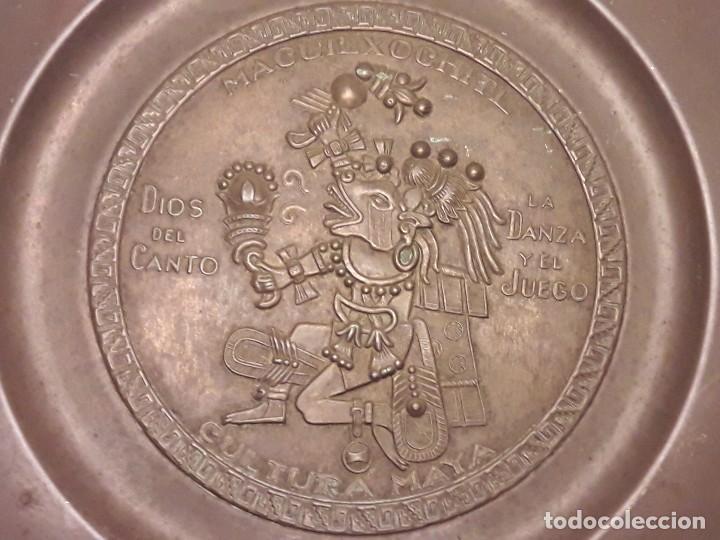 Arte: Precioso plato de cobre cultura maya Macuilxóchitl dios del canto la danza y el fuego - Foto 3 - 216407121