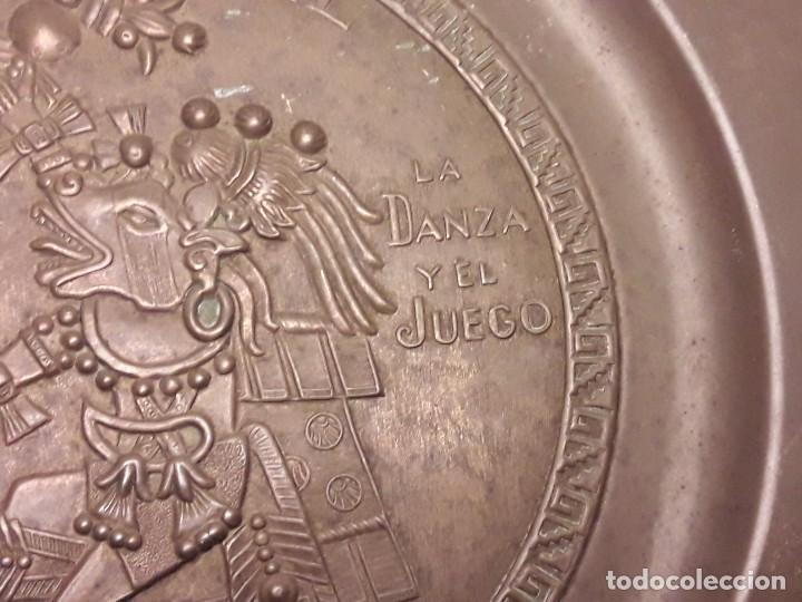 Arte: Precioso plato de cobre cultura maya Macuilxóchitl dios del canto la danza y el fuego - Foto 5 - 216407121