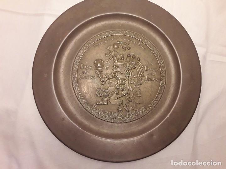 Arte: Precioso plato de cobre cultura maya Macuilxóchitl dios del canto la danza y el fuego - Foto 8 - 216407121