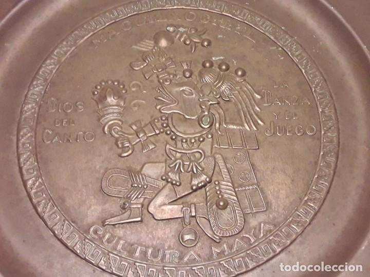 Arte: Precioso plato de cobre cultura maya Macuilxóchitl dios del canto la danza y el fuego - Foto 9 - 216407121