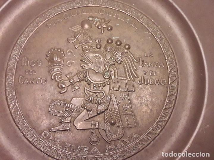 Arte: Precioso plato de cobre cultura maya Macuilxóchitl dios del canto la danza y el fuego - Foto 10 - 216407121