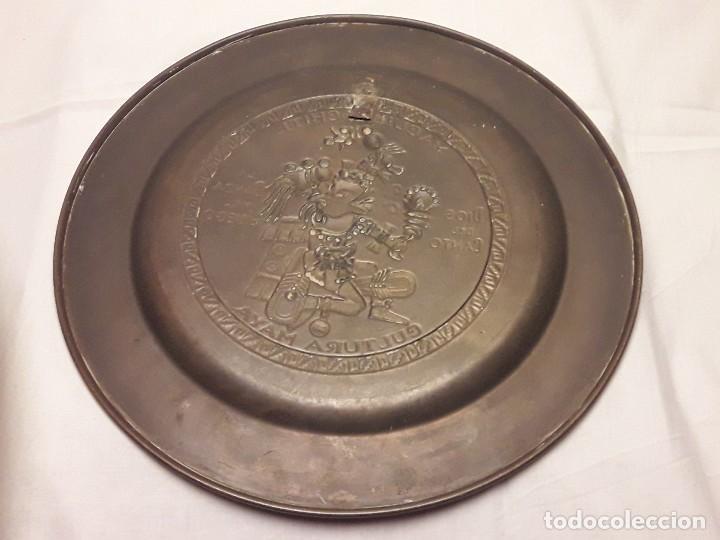 Arte: Precioso plato de cobre cultura maya Macuilxóchitl dios del canto la danza y el fuego - Foto 11 - 216407121