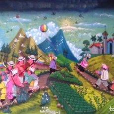Arte: PINTURA INDÍGENA SOBRE CUERO DE ESCENA POPULAR FIRMADA RODRIGO TOAQUIZA. Lote 114167319