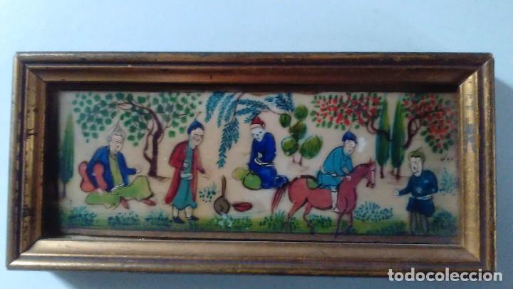 Arte: Antigua pintura miniatura oriental sobre marfil. Personajes en un jardín - Foto 2 - 114349655